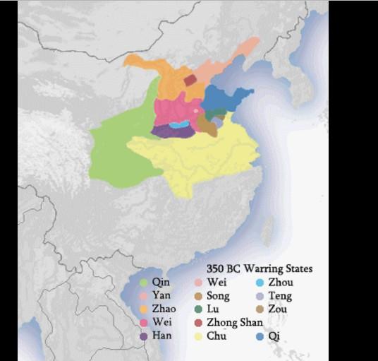 Bản đồ thời chiến quốc năm 350 TCN