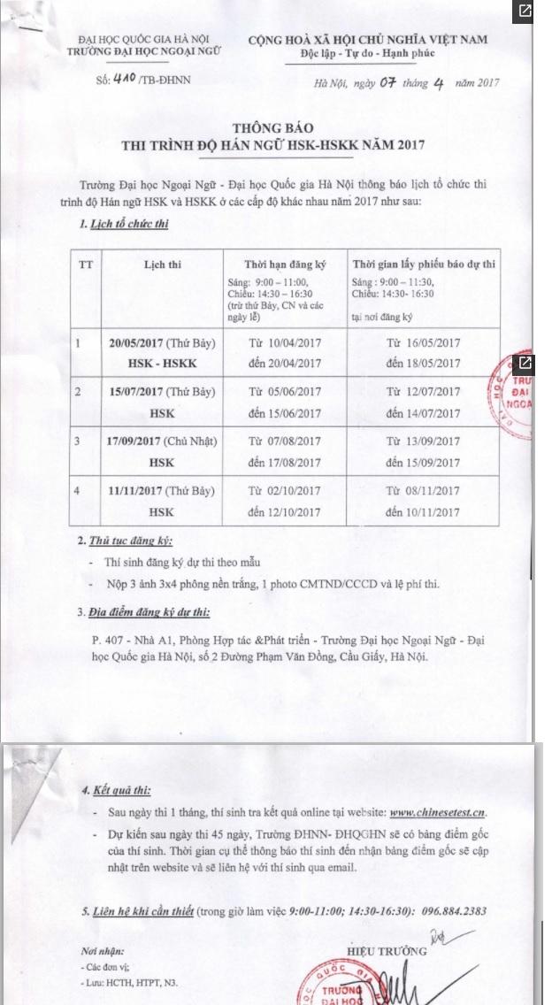 thong tin ky thi HSK tai Ha Noi