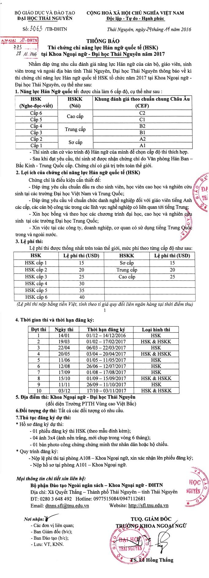 thong tin ky thi HSK tai Thai Nguyen
