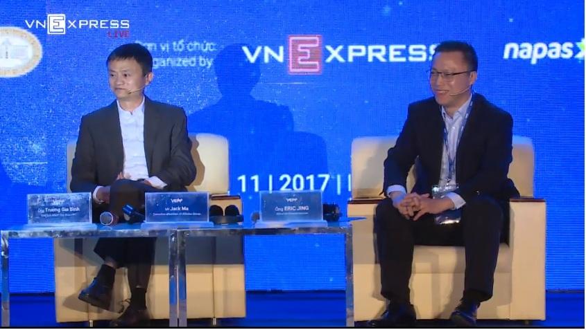 Jack Ma va Eric Jing - chu tich alibaba va CEO Ant Financial Services - cong ty me cua alipay